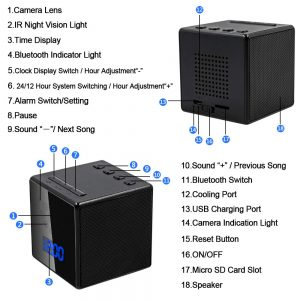 camera espion enceinte bluetooth